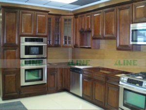 tủ bếp gỗ óc chó Xline