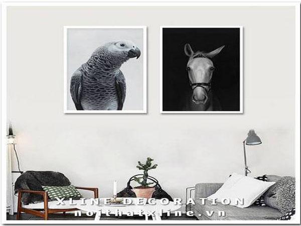 Bộ tranh Canvas Tuấn Mã Chim Ưng