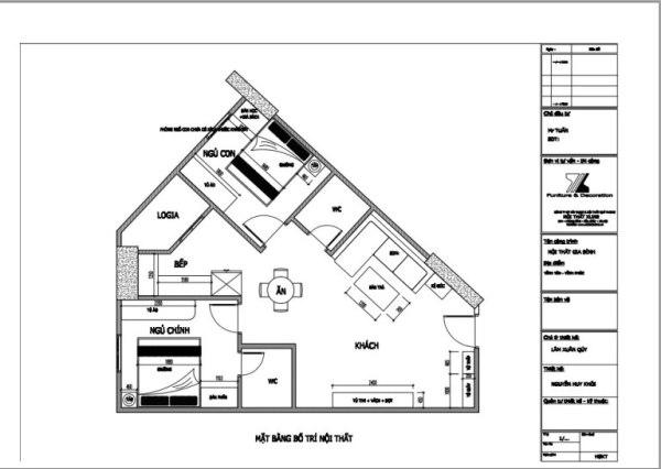 Mặt bằng bố trí căn hộ 70m2
