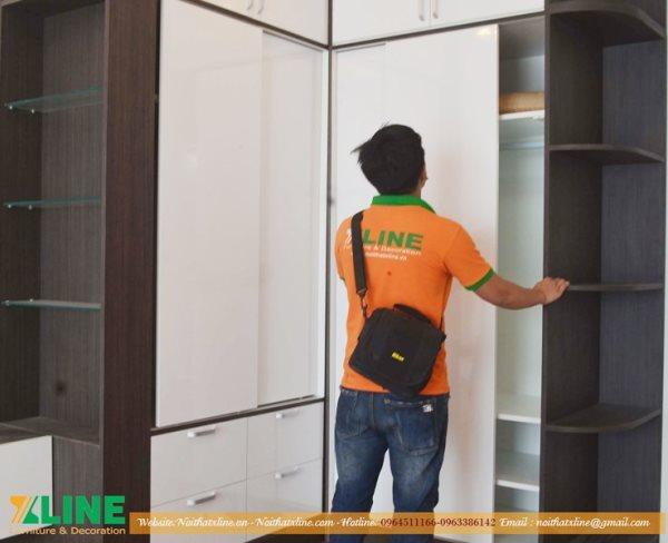 Nội thất Xline bàn giao sản phẩm sau thi công nội thất phòng ngủ chung cư