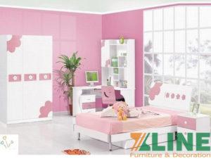 Bộ nội thất phòng ngủ bé gái màu hồng