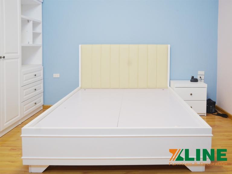 Bộ phòng ngủ màu trắng gỗ Sồi cao cấp