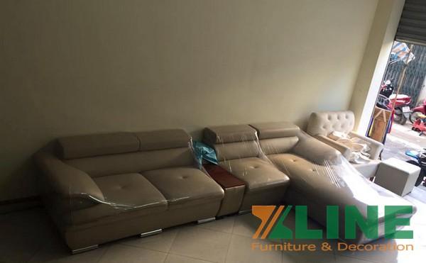 Sofa giả da màu sữa