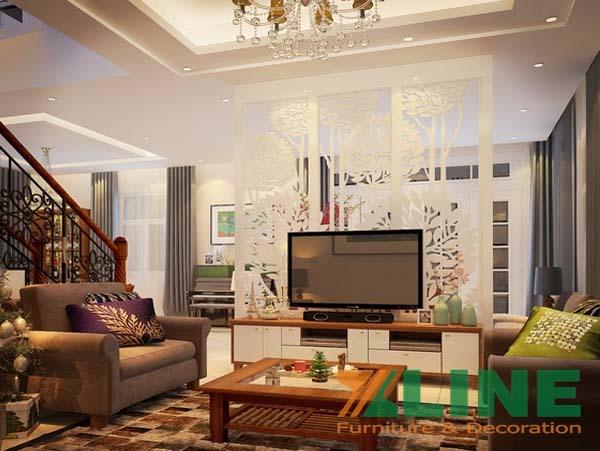 Vách gỗ CNC phòng khách