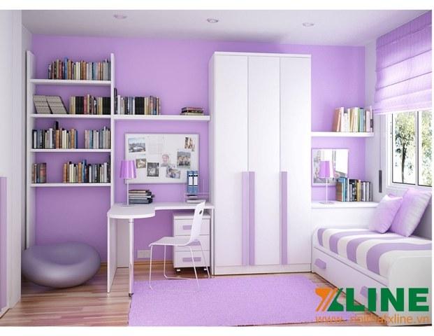 Phòng ngủ bé gái màu tím hiện đại