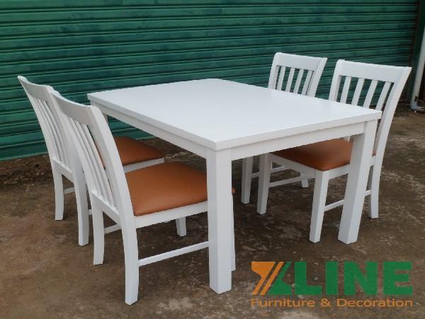 Bộ bàn ăn 4 ghế màu trắng