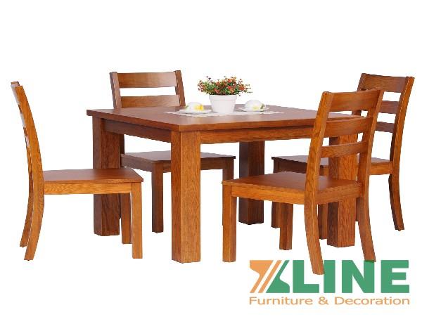 Bộ bàn ăn 4 ghế xoan