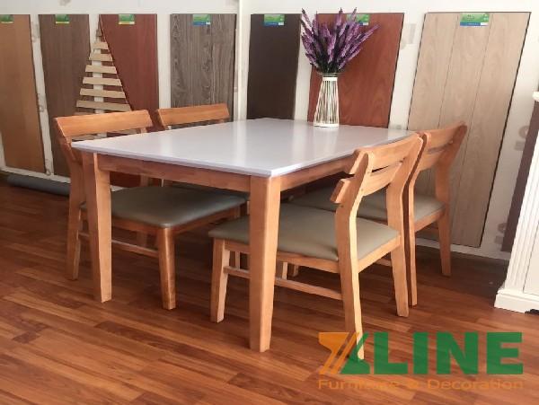Bộ bàn ăn 6 ghế gỗ cao su