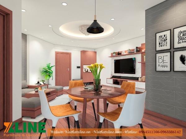 Báo giá thi công nội thất chung cư phòng khách căn hộ 70m2