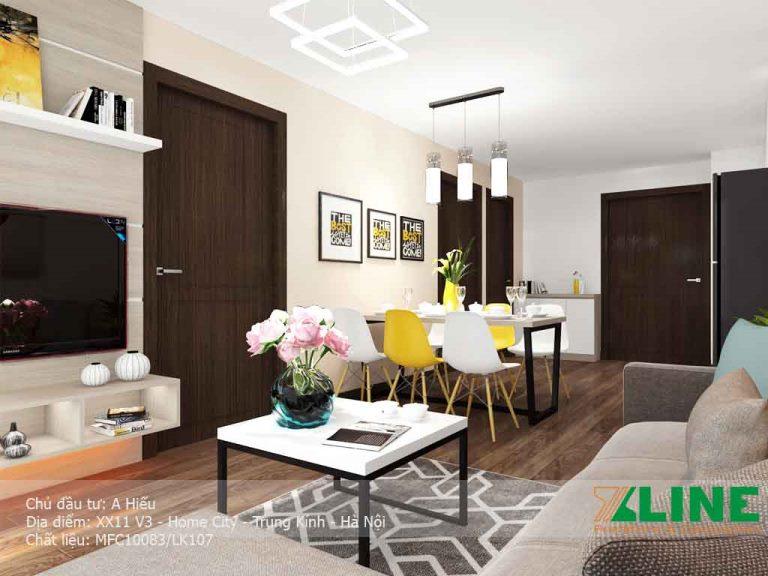 Phối cảnh phòng khách trong thiết kế nội thất chung cư Home City anh Hiếu