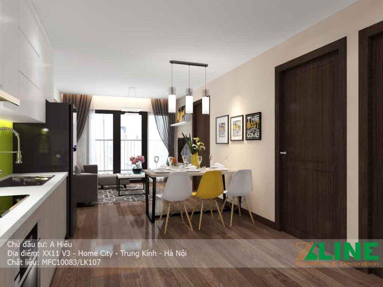 Tổng thế không gian phòng khách trong thiết kế nội thất căn hộ chung cư nhà anh Hiếu