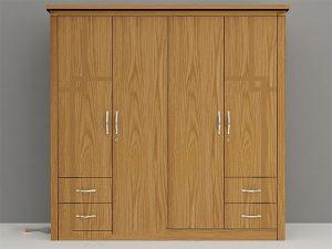 Mẫu tủ quần áo 4 cánh tự nhiên chất gỗ Sồi